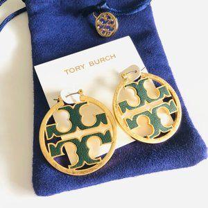 TORY BURCH Miller Leather Hoop Earrings Green